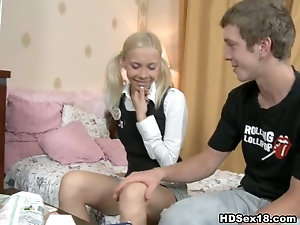 Skinny blonde with pigtails makes guy to lick her cunt