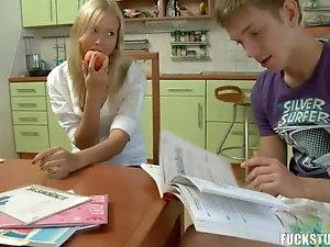 Blonde Teen Rides Classmate Hard Cock As They Do Homework